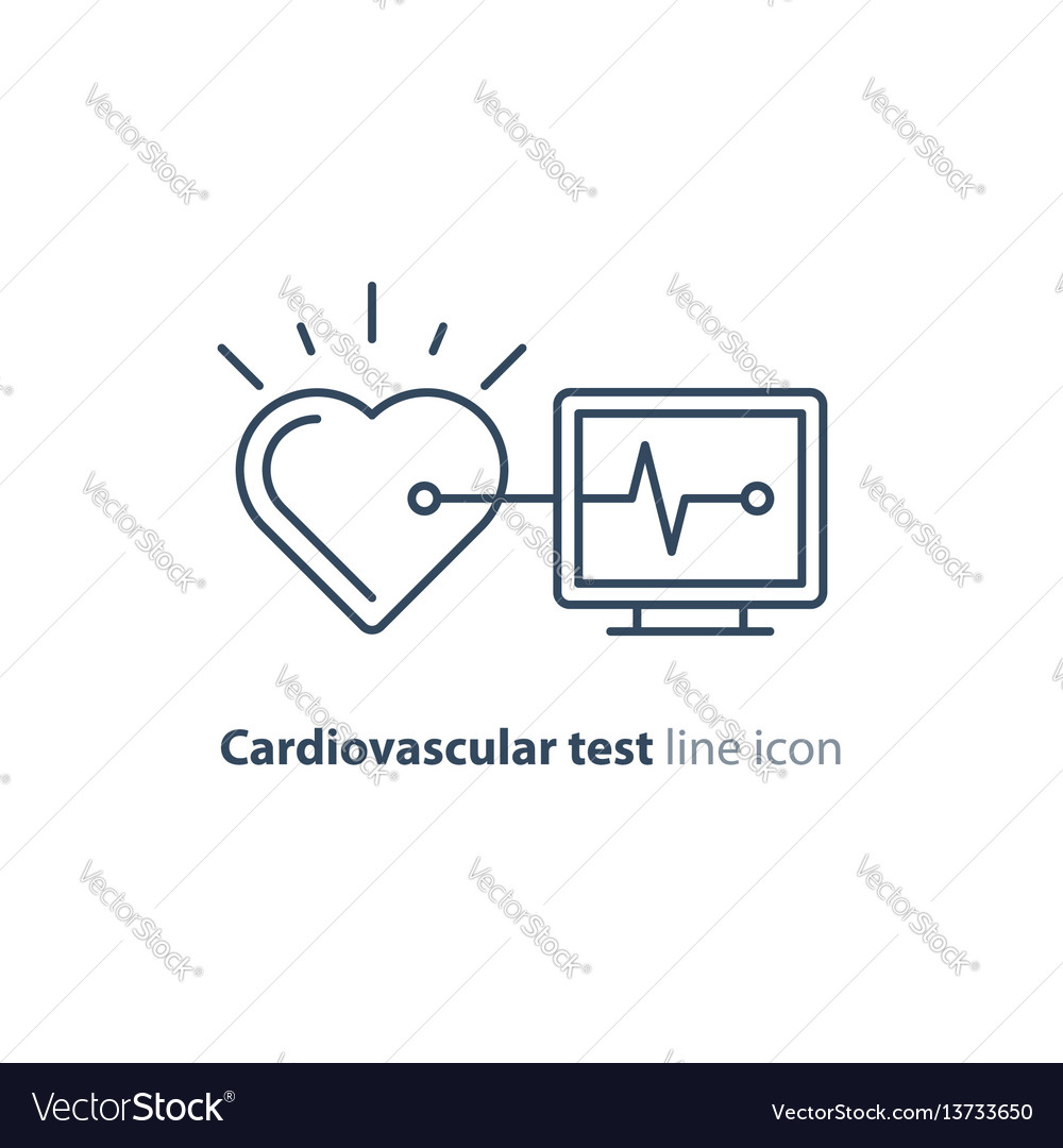 Heart test line icon electrocardiogram monitor vector image ccuart Choice Image
