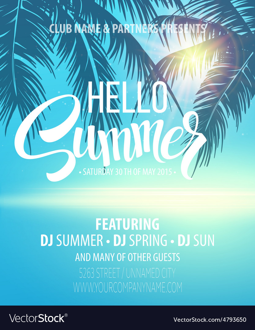 hello summer beach party flyer design royalty free vector