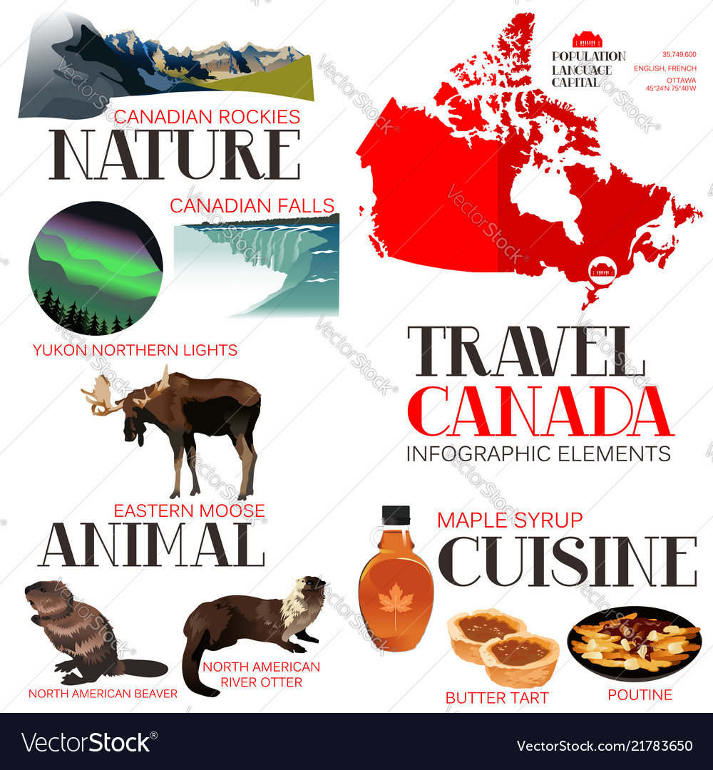 Infographic elements for traveling to canada