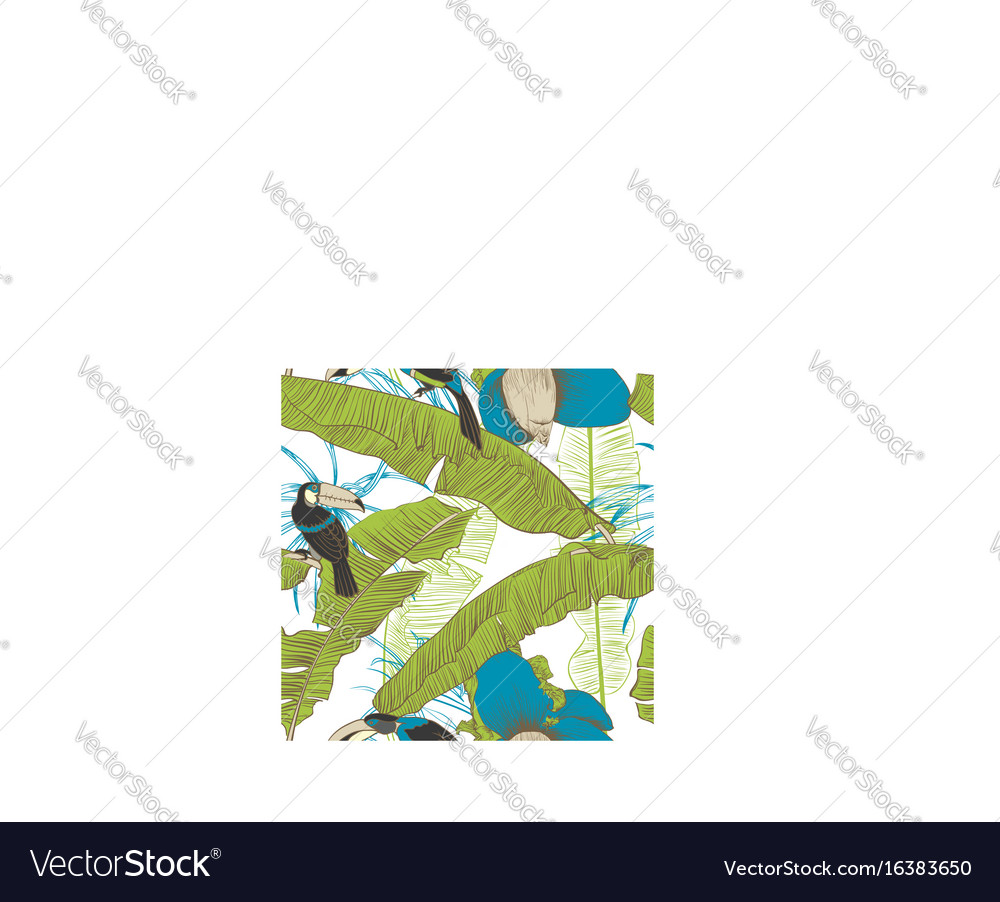 Seamless tropical pattern with banana palms