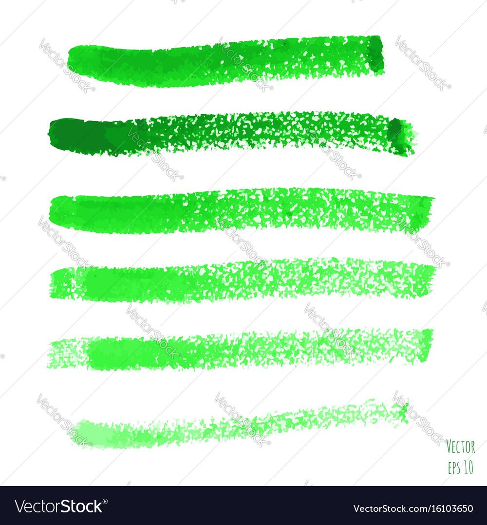 Set of green watercolor horizontal lines vector image