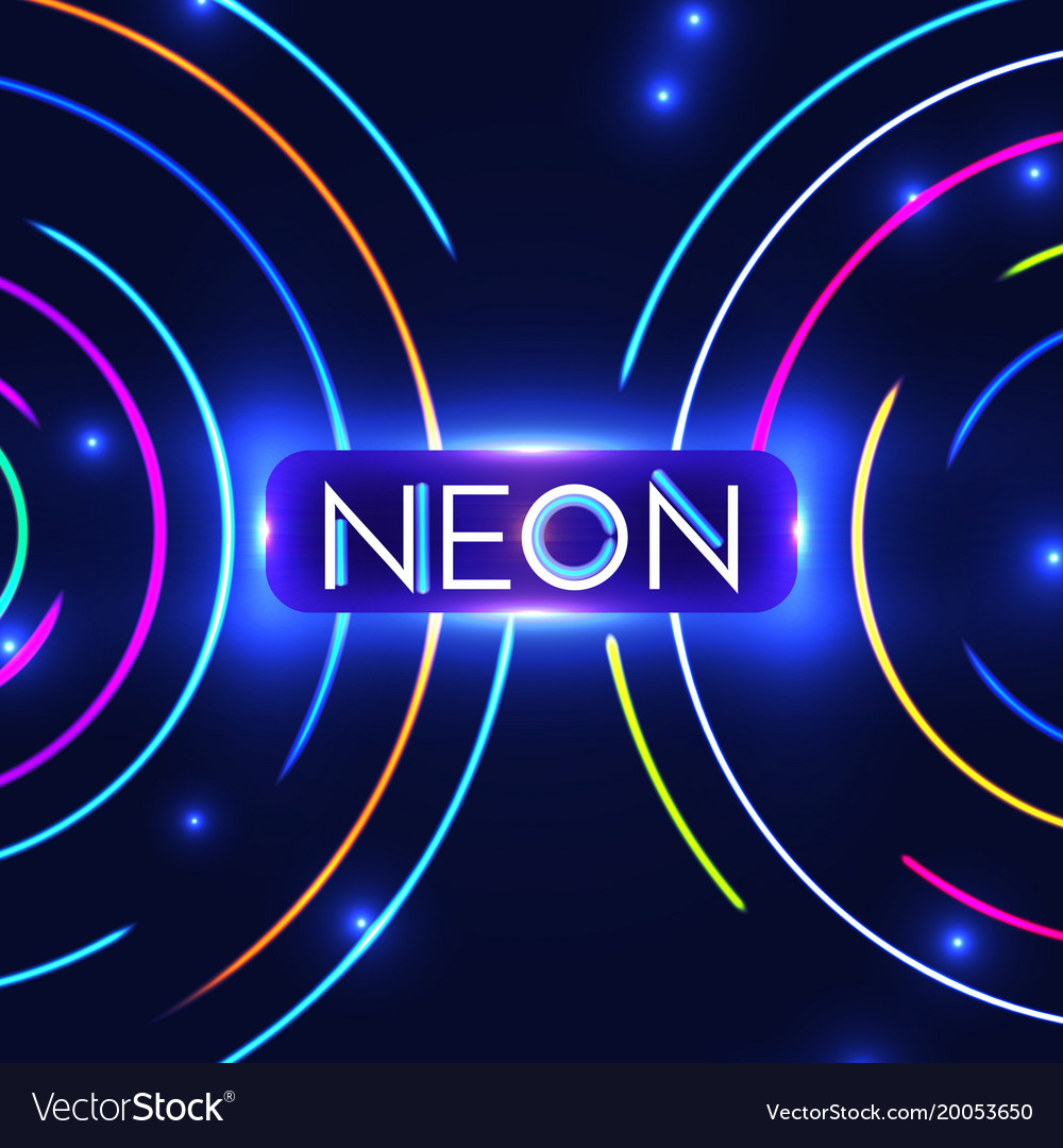 Shining neon circle trendy background colorful vector image