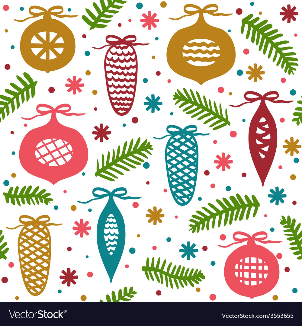 Christmas balls branches and cones seamless patte vector image