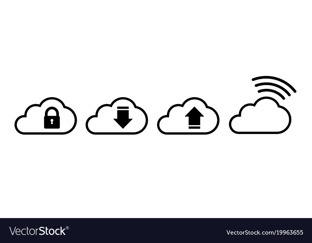 Cloud icon set in black in flat style