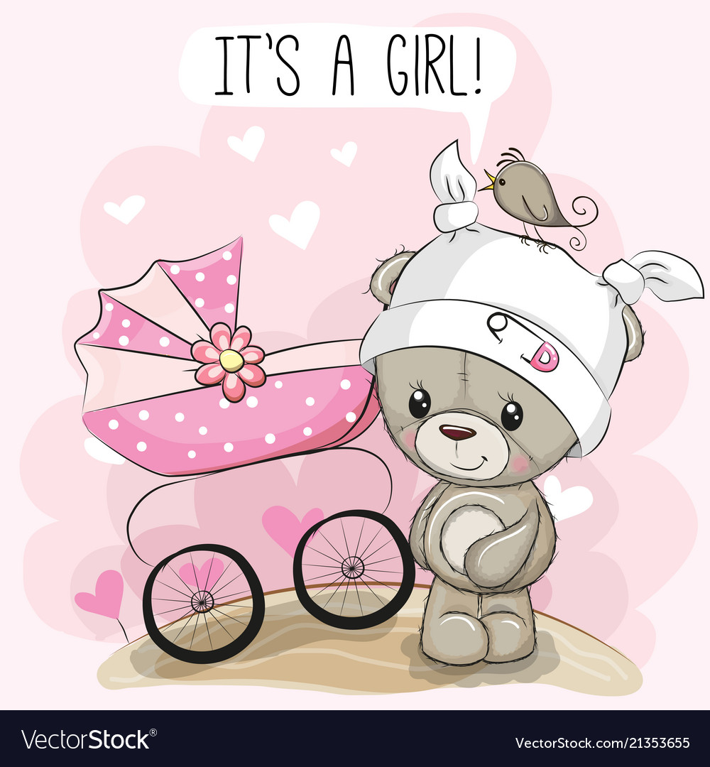 Greeting card it is a girl with baby carriage and