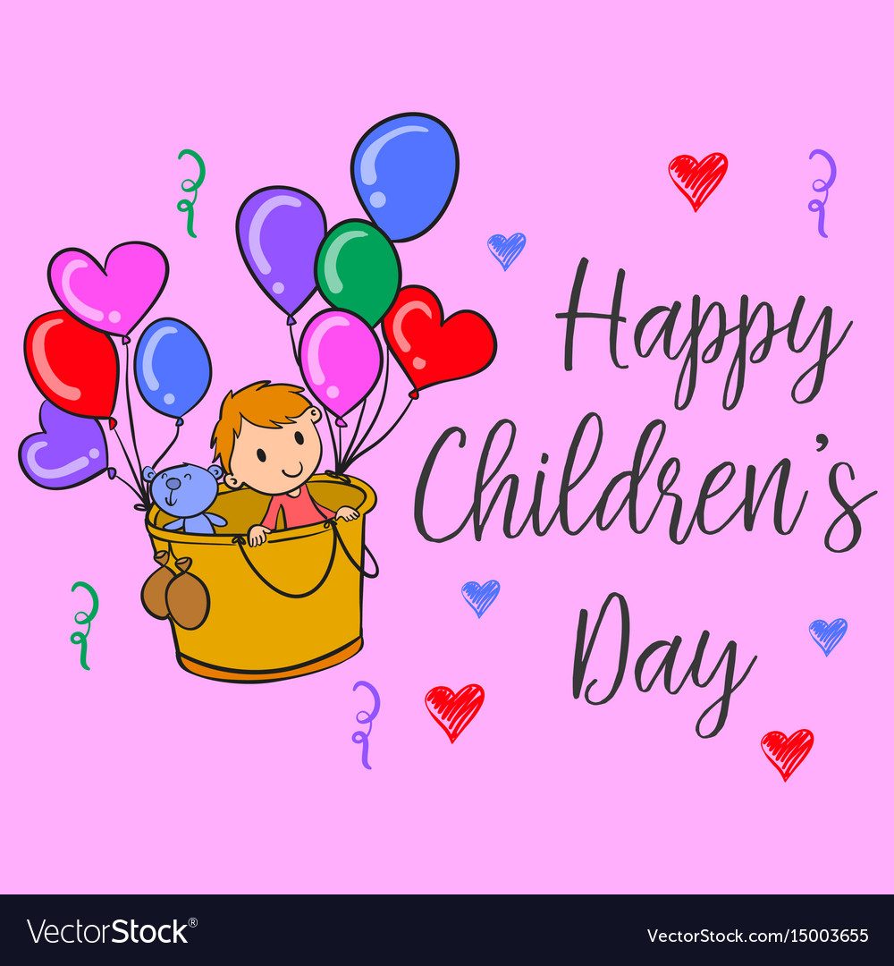 Happy children day colorful style collection vector image