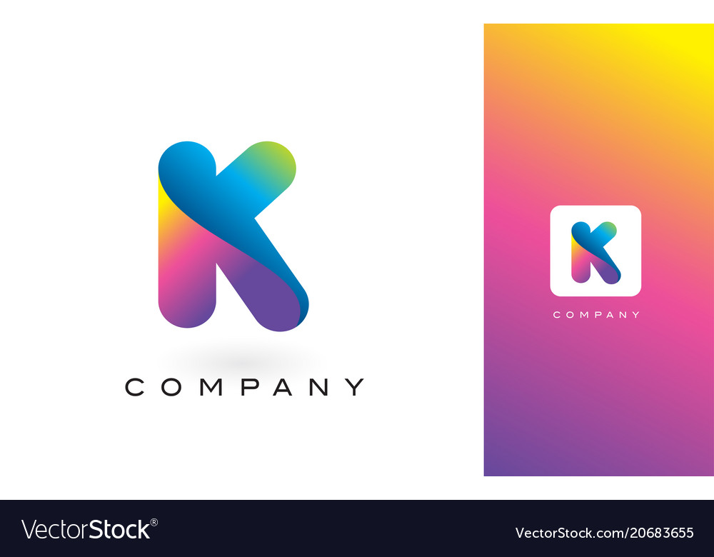 K logo letter with rainbow vibrant beautiful