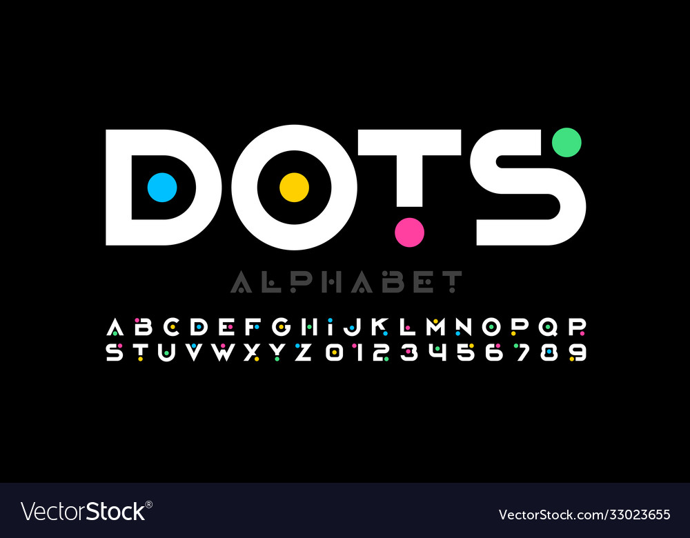 Modern style font alphabet letters and numbers