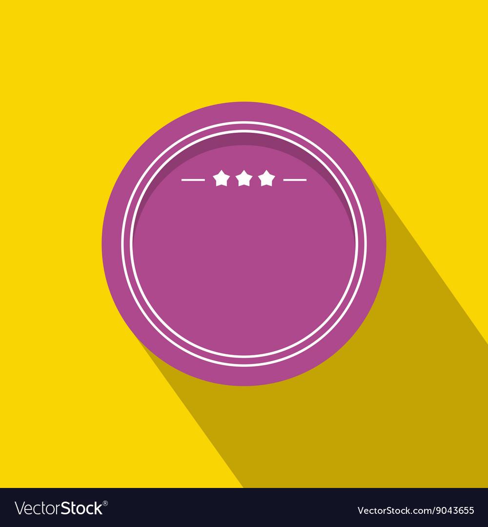 Round badge with three stars icon flat style