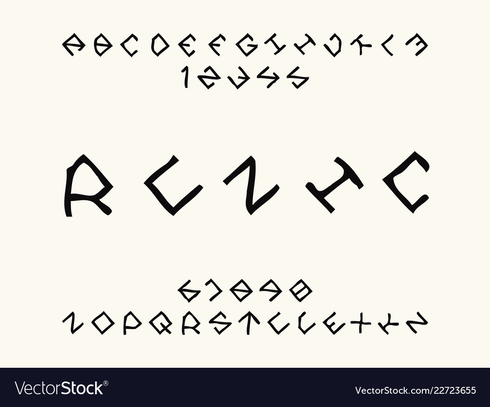 Runic Font Alphabet Royalty Free Vector Image Vectorstock