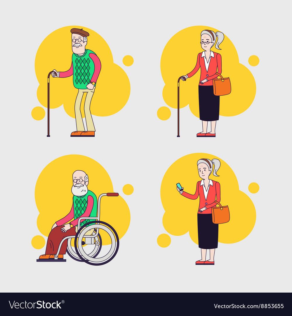 Set of elderly characters Older people set vector image