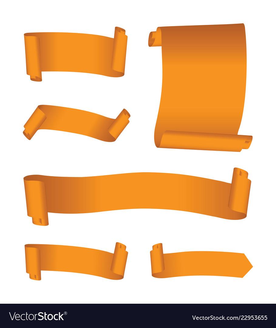 Set of orange banners