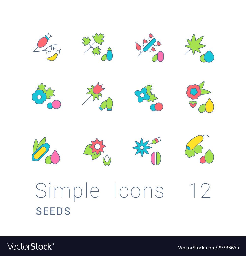 Set simple line icons seeds