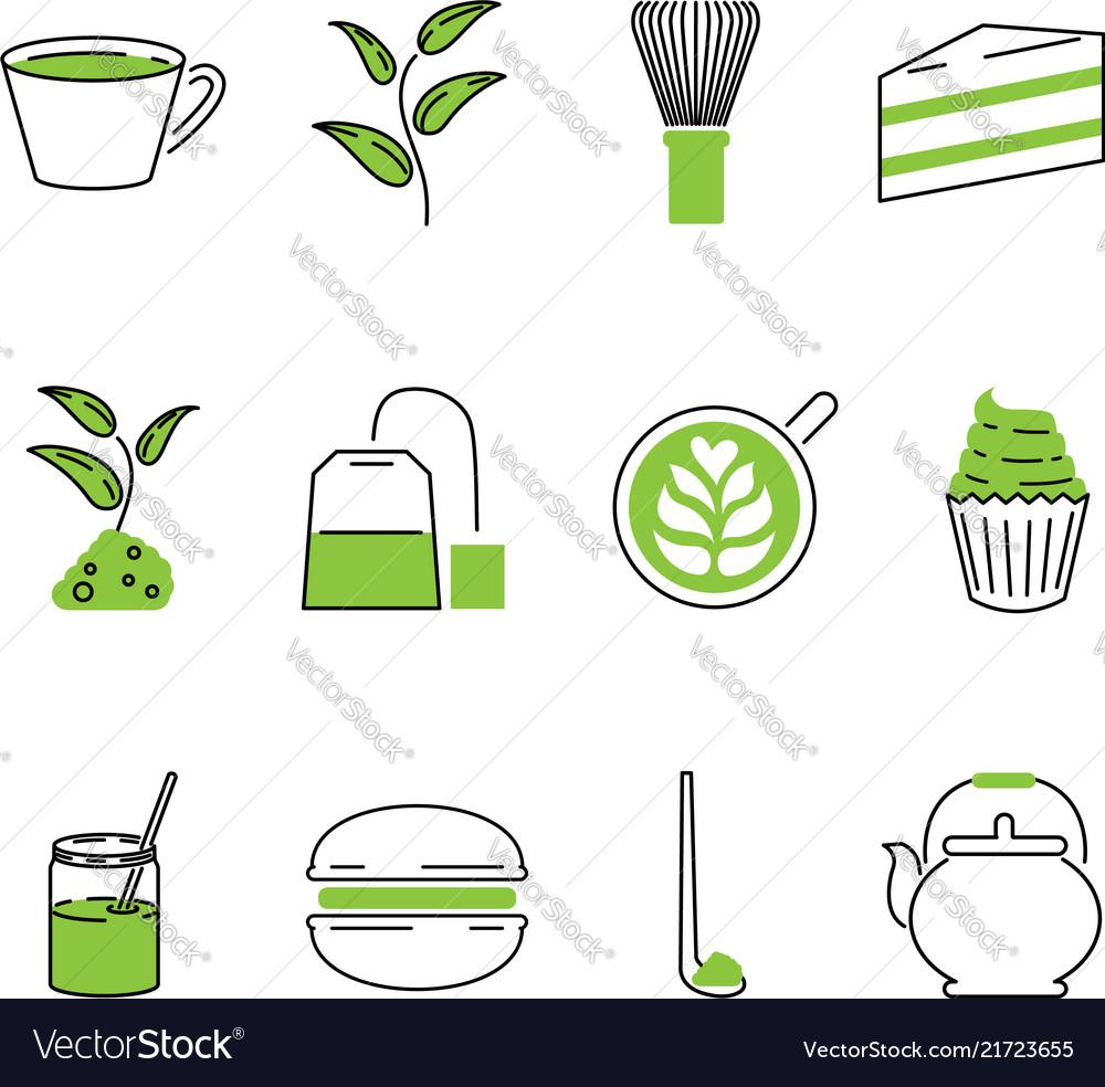 Traditional matcha tea outline icons set