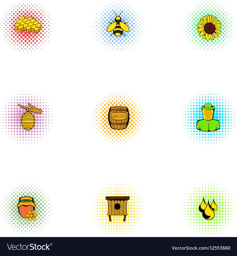Beekeeping icons set pop-art style vector image