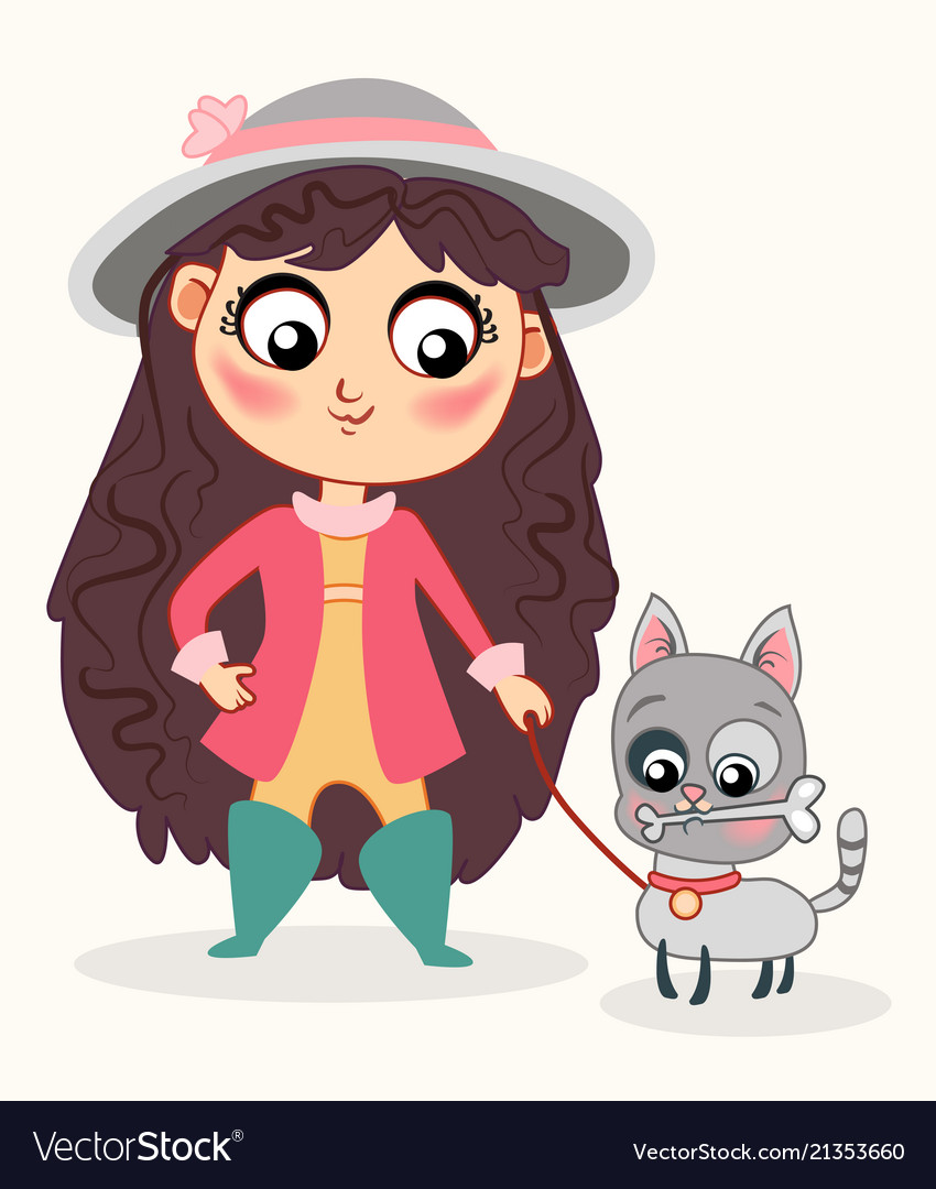 Cute baby girl with little cat childish style