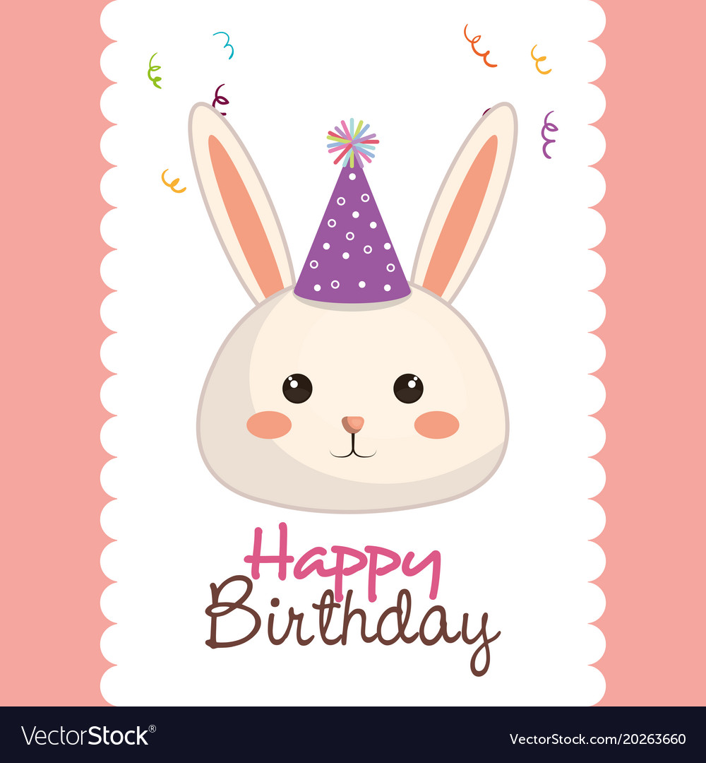 Happy Birthday Card With Bunny Character Vector Image