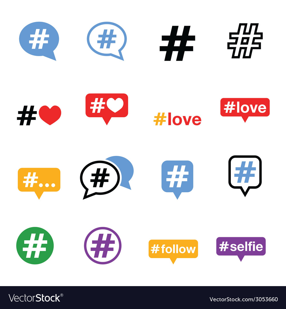 Hashtag social media icons set