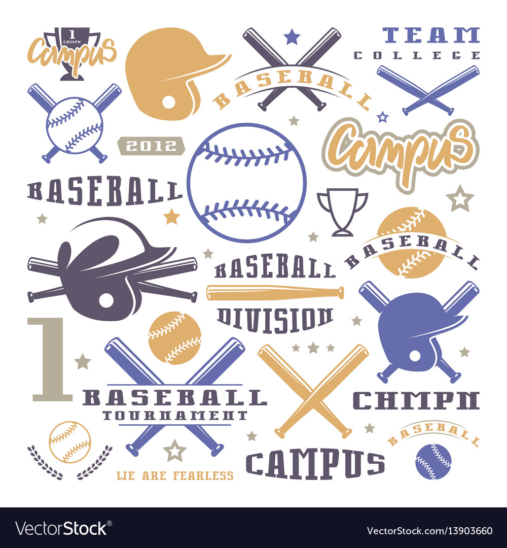 Icons and badges set of baseball team