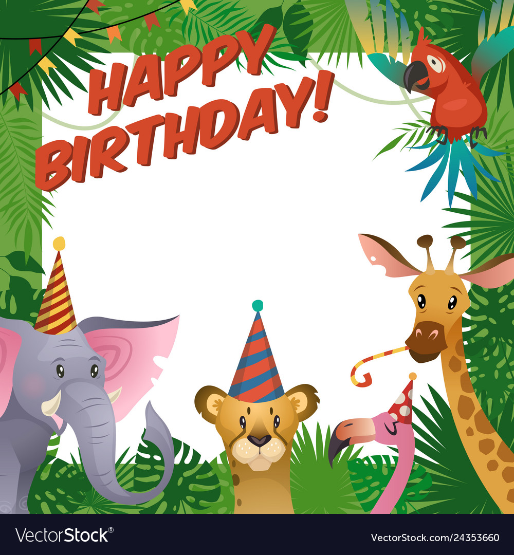 Jungle Animals Party Card Happy Birthday Baby