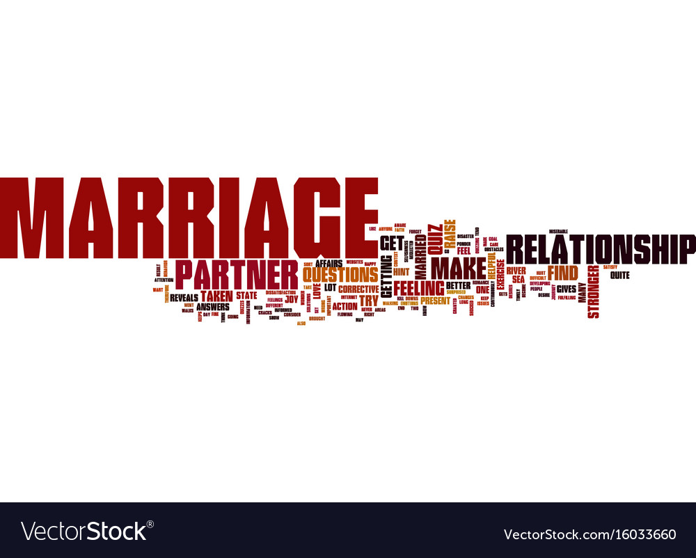 Marriage quiz text background word cloud concept
