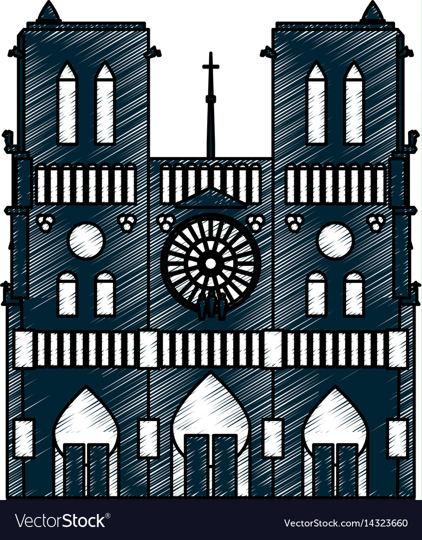Notre dame cathedral vector image
