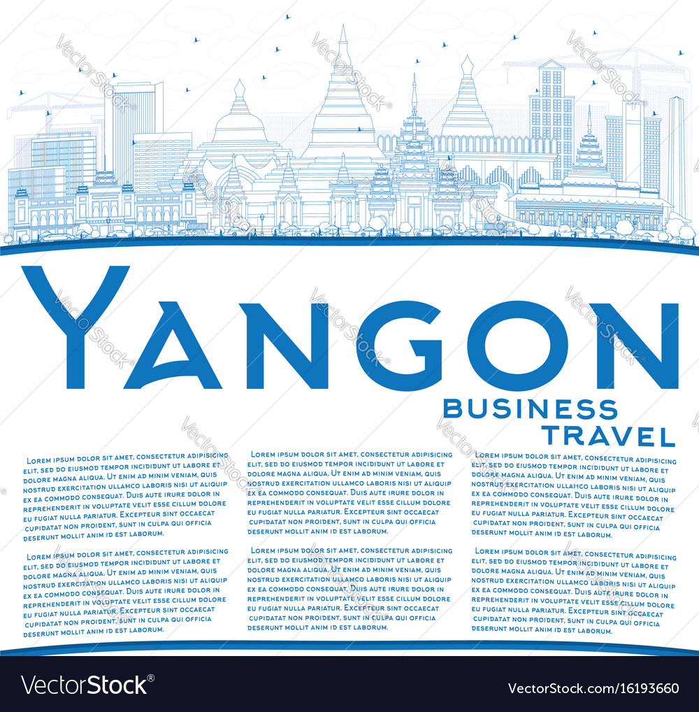 Outline yangon skyline with blue buildings and vector image