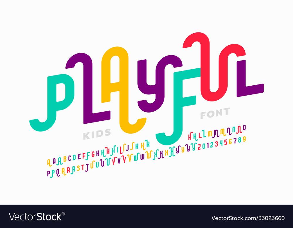 Playful style font design childish alphabet