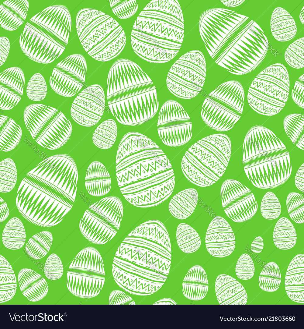 Seamless pattern of striped easter eggs in boho