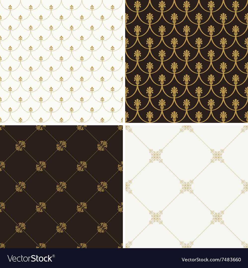 Seamless vintage floral background gold and black