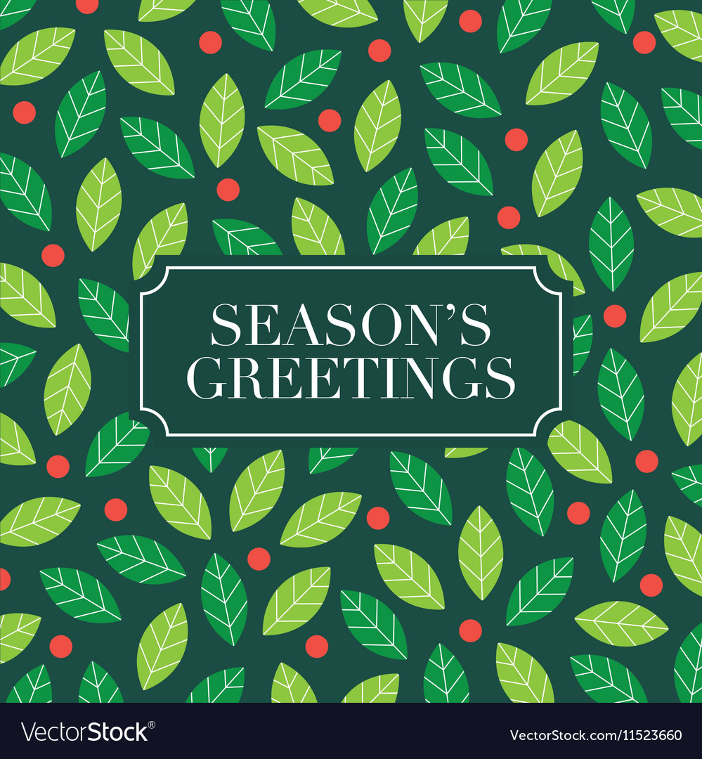 Seasons greetings card with mistletoe background vector image