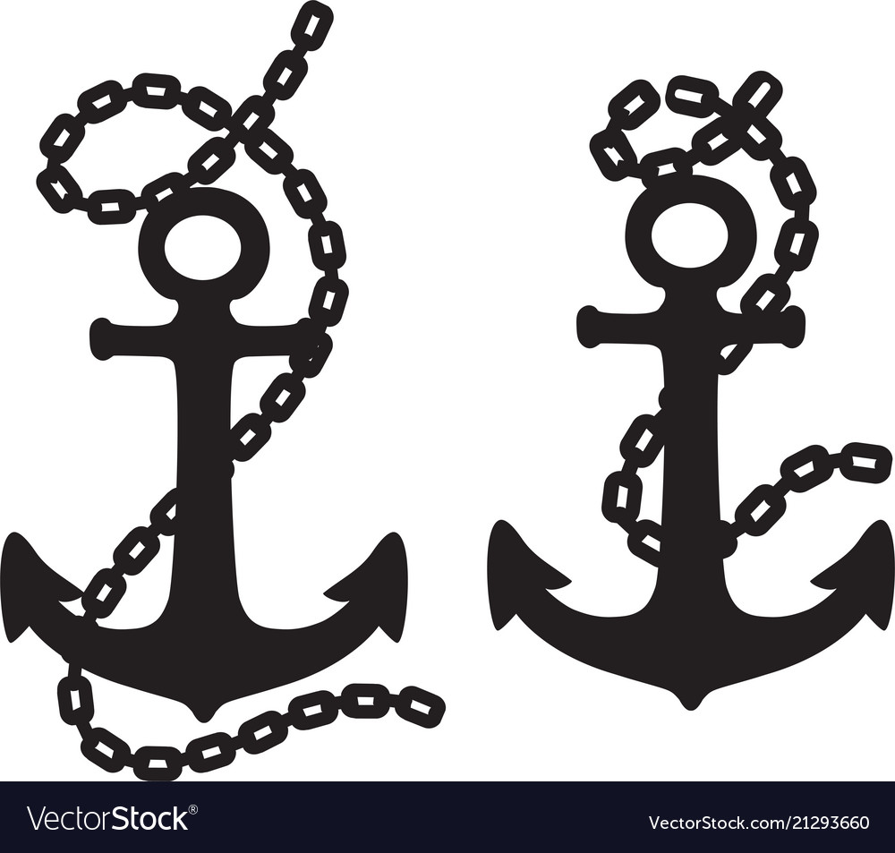 Set of drawings of anchor with chain