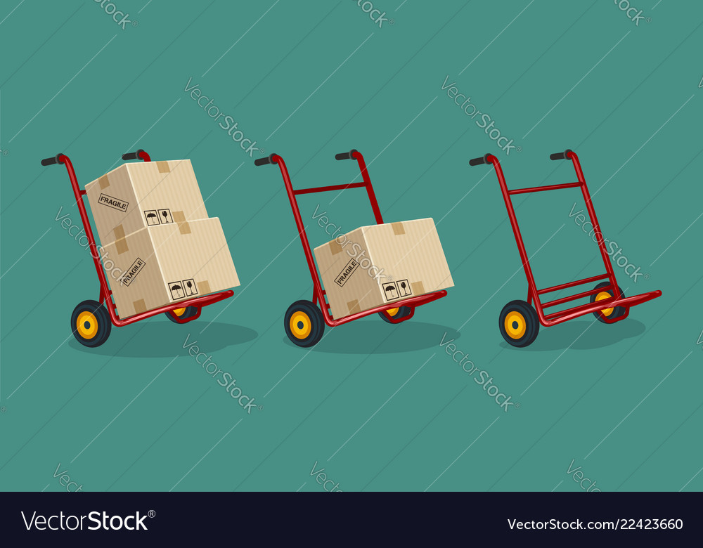 Set of red trolleys with carton boxes on a flat