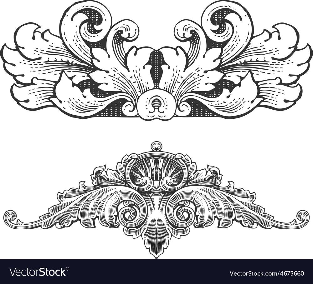 Vintage floral wood print decorative elements