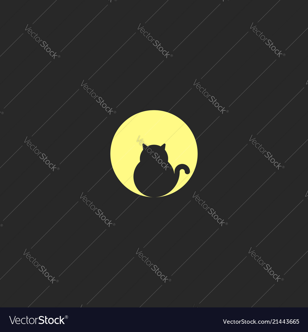 A logo fat black cat sits on the background of a