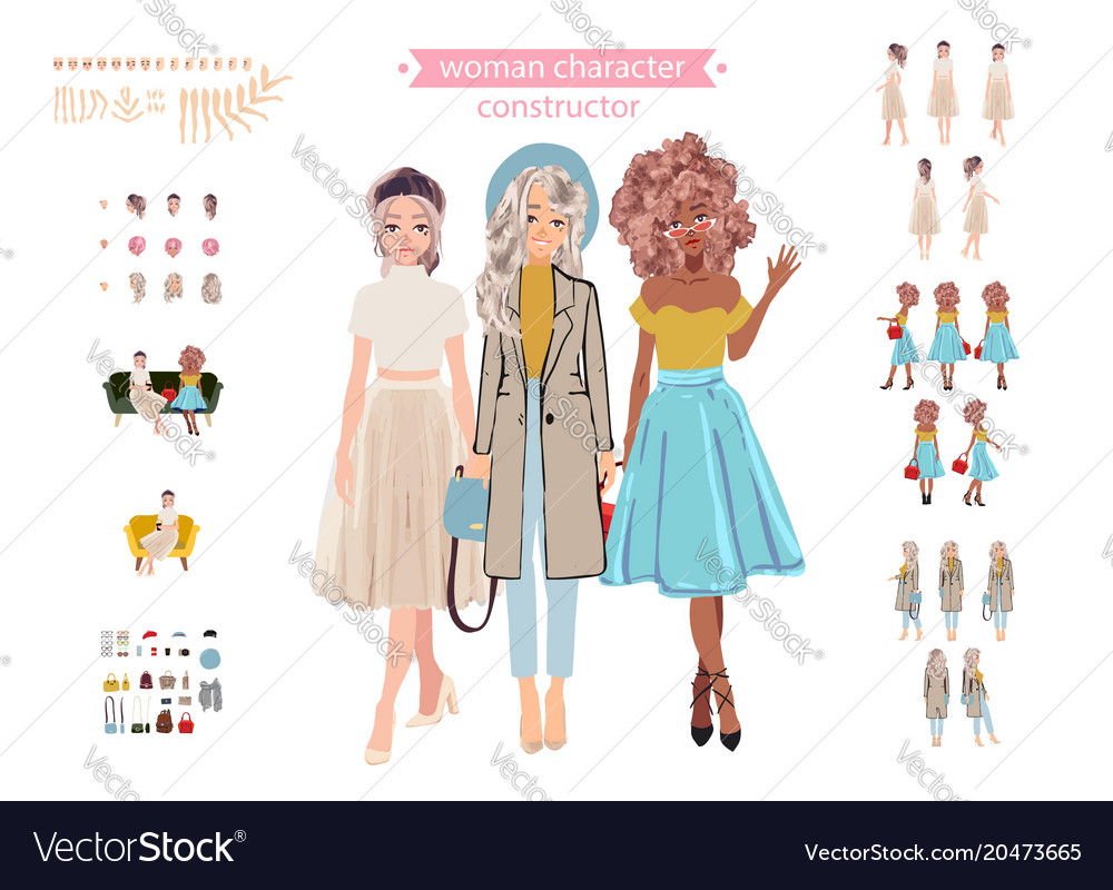 Animate woman character young lady personage vector image