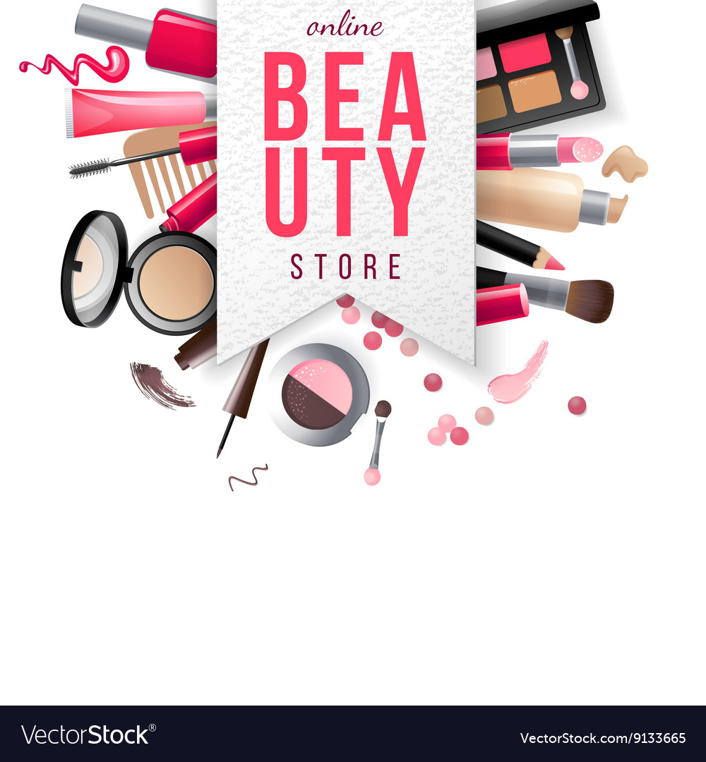 Beauty store emblem with type design and cosmetics vector image
