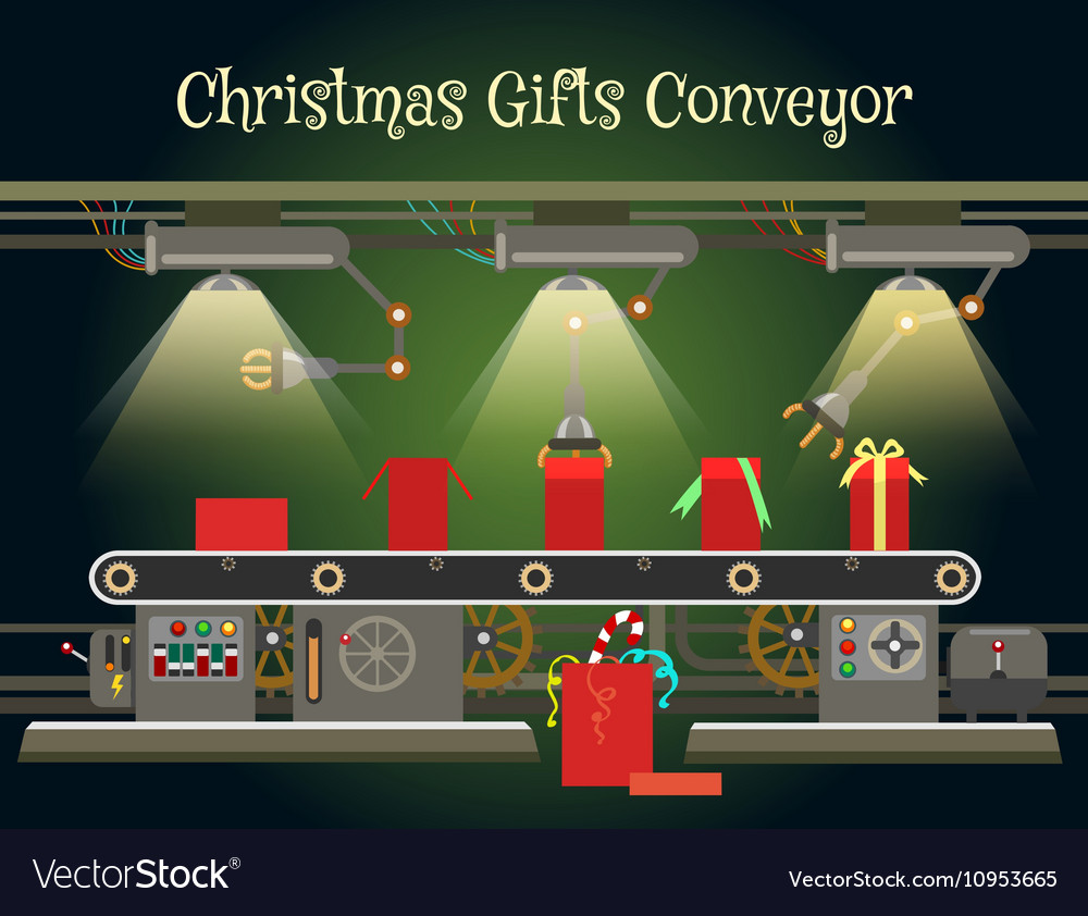 Christmas gift wrapping machine conveyor vector image