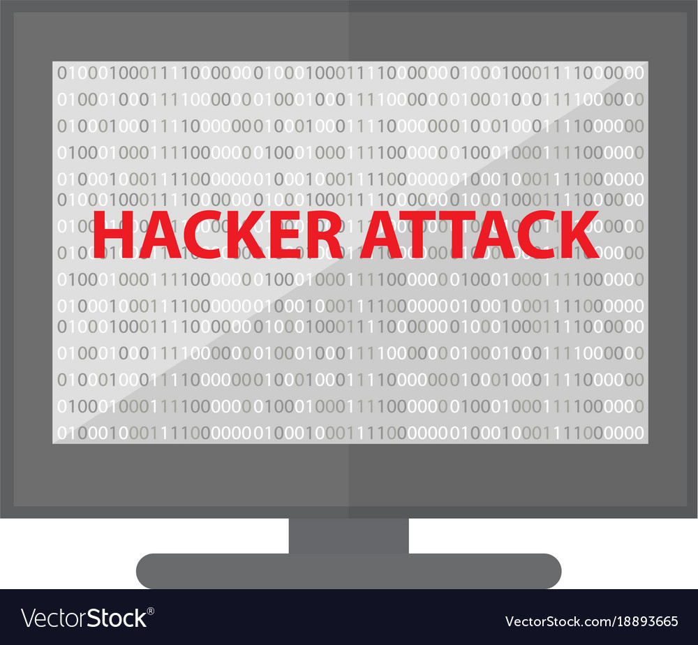 Computer hacking system icon monitor with binary