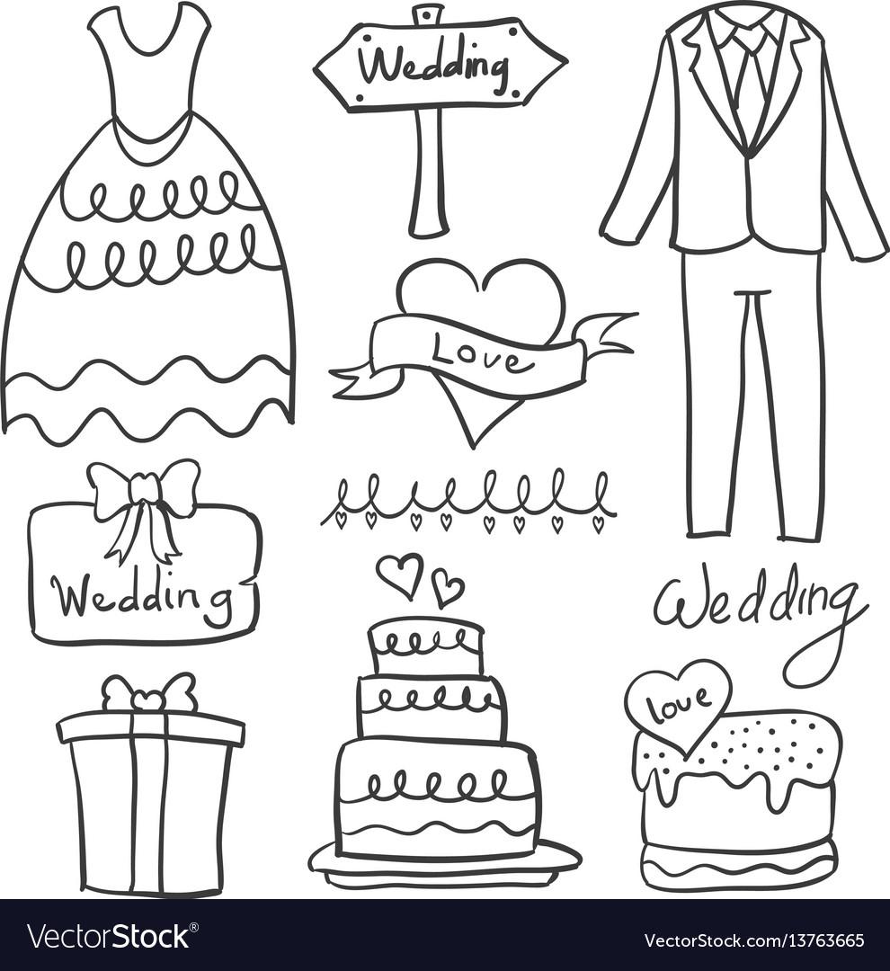 Doodle of element wedding style