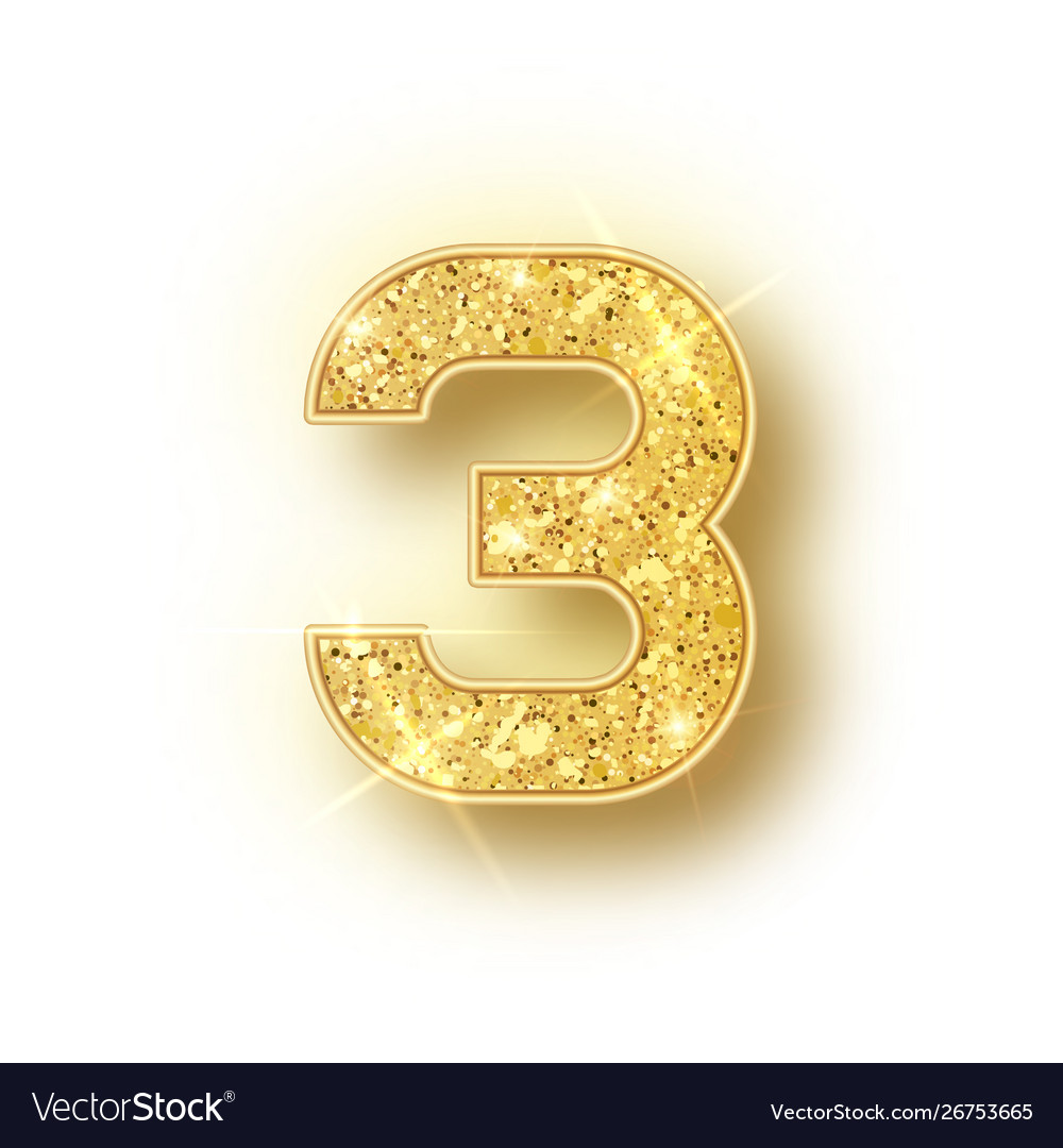 Gold Glitter Alphabet Numbers 3 With Shadow Vector Image
