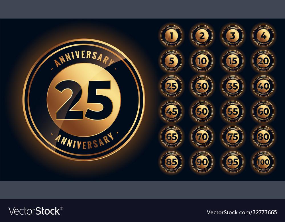 Golden anniversary labels and emblems big set