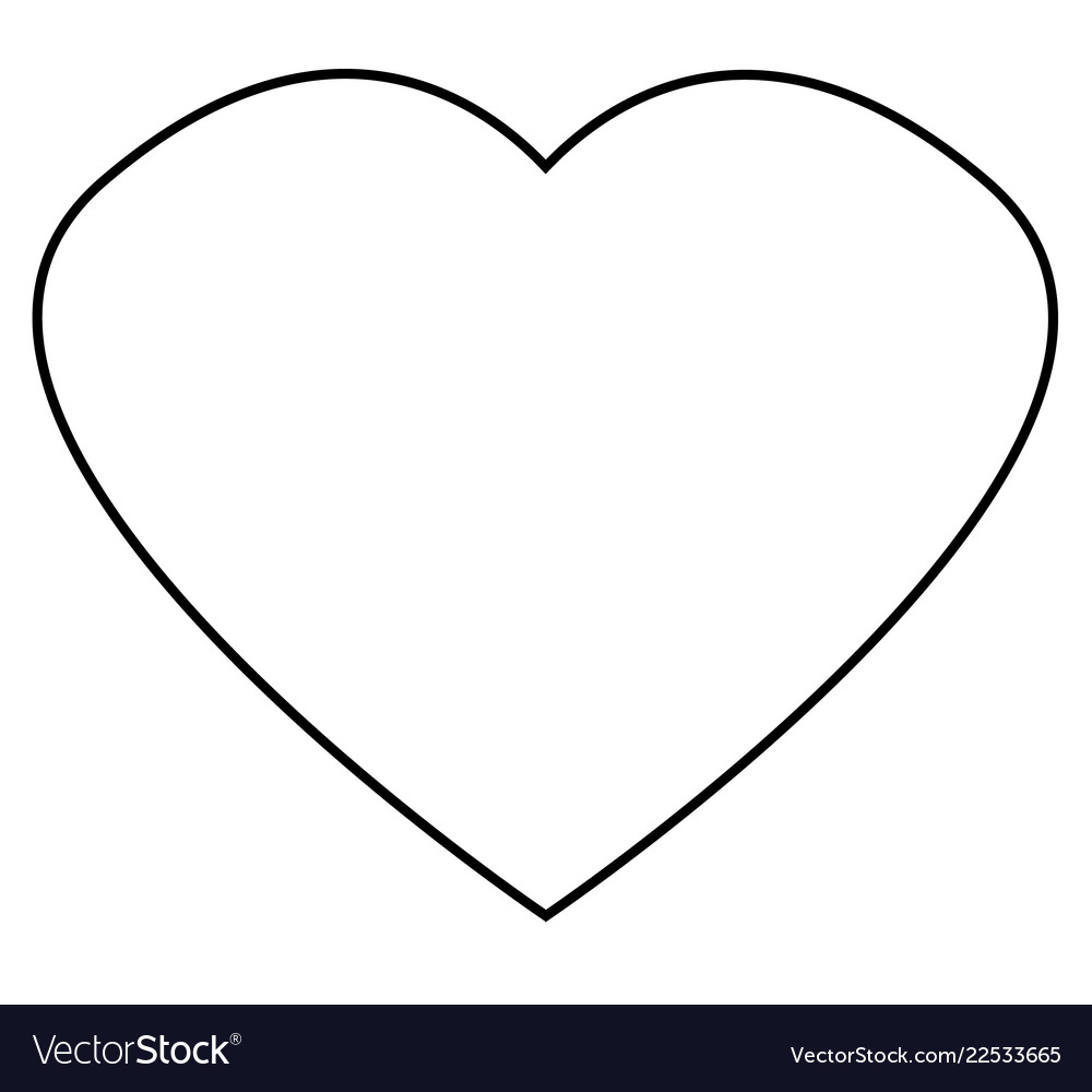 Heart outline icon on white background flat
