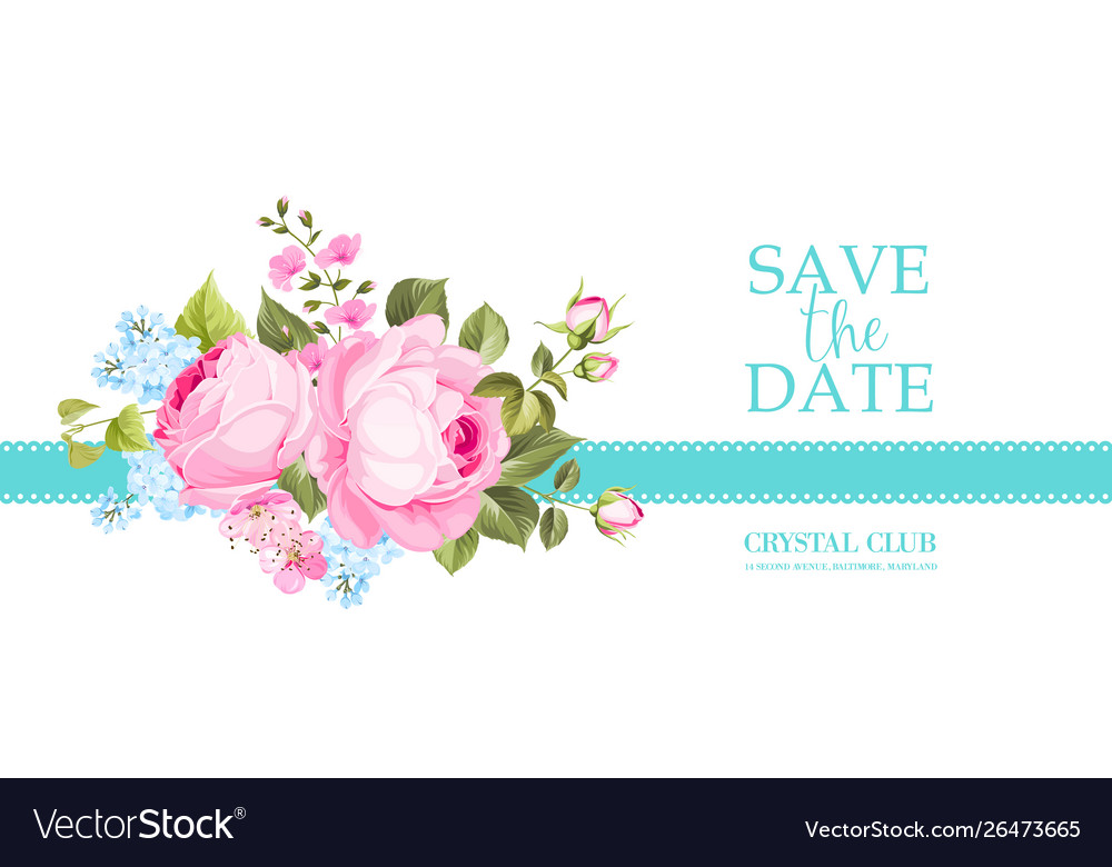 Invitation card with summer flowers