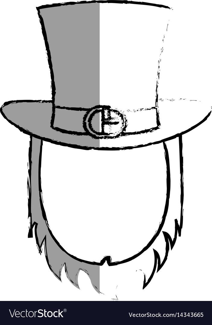 09b0a21b33598 Irish elf hat with beard isolated icon Royalty Free Vector
