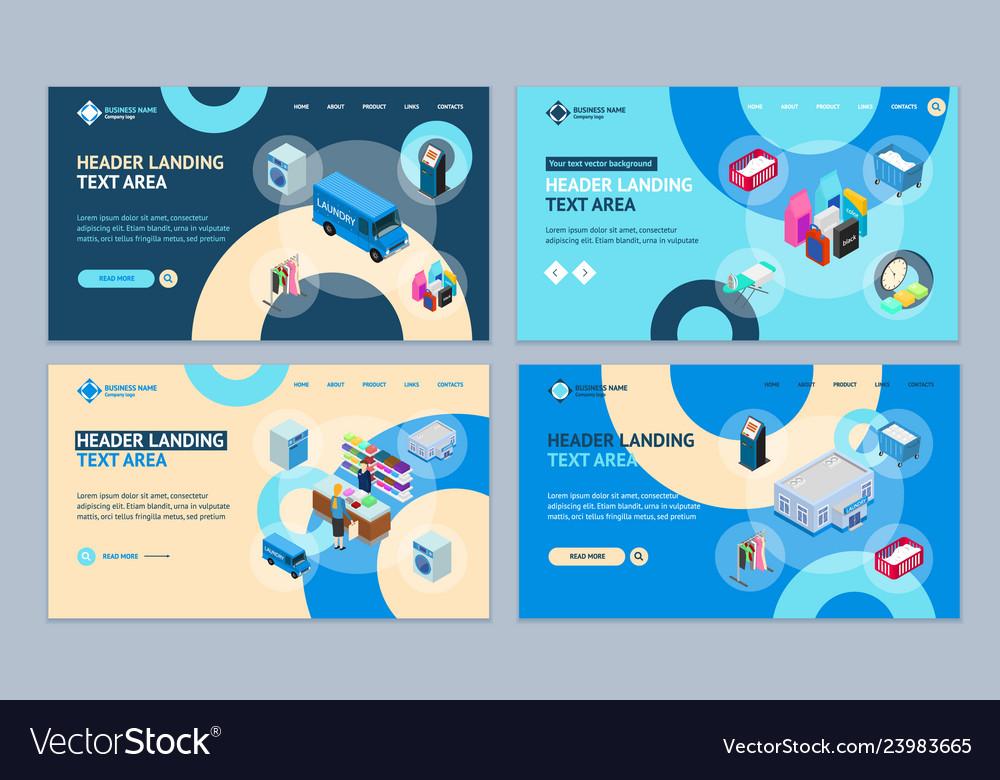 Laundry concept landing web page template set 3d