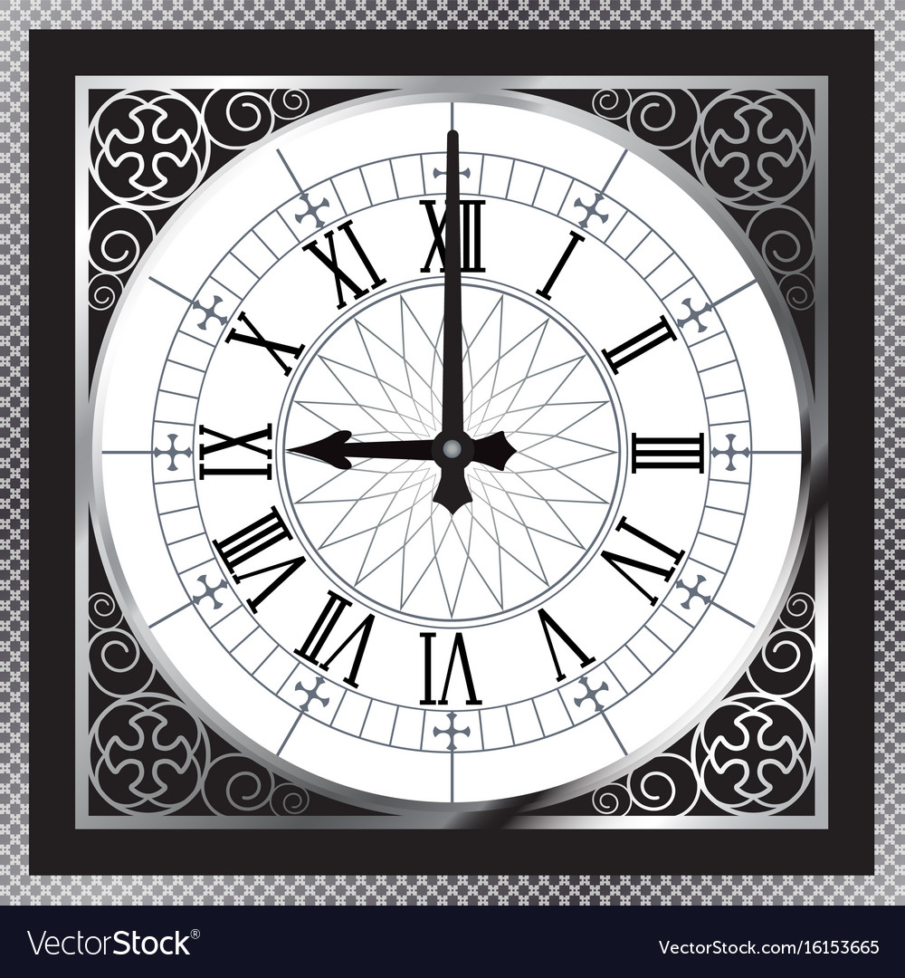Luxury white gold metal clock with roman numerals