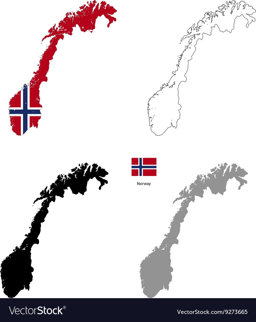 Norway country black silhouette and with flag on