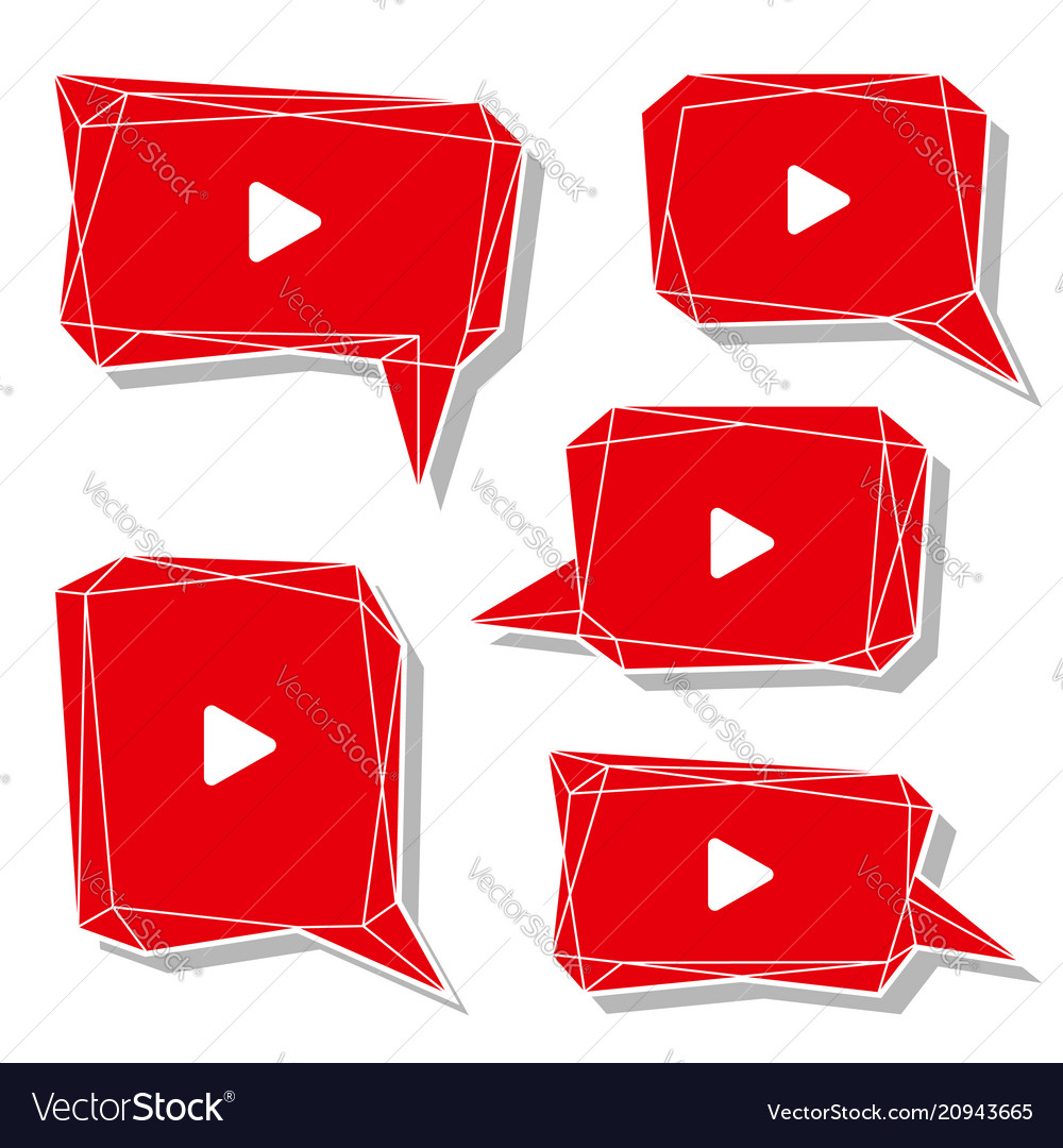 Red video talk balloon low poly bubble web online