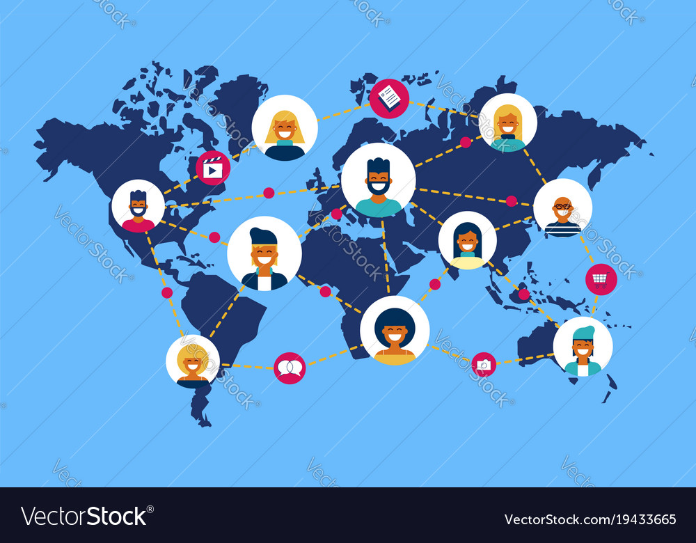 Social Network World Map People Team Connection Vector Image